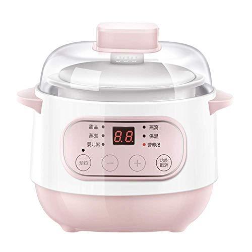 GAOFQ Elektrische Eintopfpfanne 1L Ceramic Liner Slowcooker Haushalts-Multifunktion kann reserviert Werden Eintopf Slow Cooker, Pink