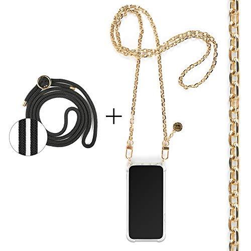 Jalouza® Handykette kompatibel mit Apple iPhone X/XS, Anker-Kette in Farbe Gold mit Handy Hülle zum Umhängen + Schwarze Kordel als Ersatz-Band, Designed in Berlin