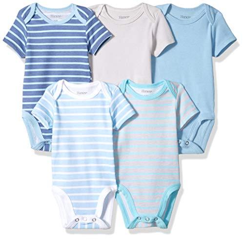 Hanes Ultimate Baby Flexy 5 Pack Short Sleeve Bodysuits, Blue Stripe, 0-6 Months