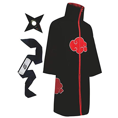 AXNG Halloween Cloak Robe Costume Cosplay Naruto Ninja Akatsuki with Headband for Kids Adult Mens Women (Small) Black