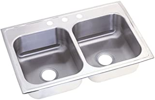 Elkay NLX33224 Neptune Double Bowl Kitchen Sink, Stainless Steel, 33-by-22-by-8-Inch
