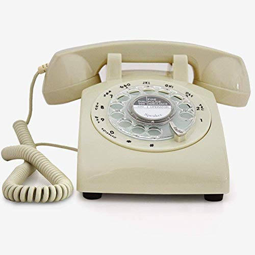 SXRDZ Phones/Home Antique Retro Rotating Dial Metal Ringing Landline Redial, Hands-free Function Retro Phone Rotary Dial Telephone Retro Style Phone (Color, Pink),White (Color : White)