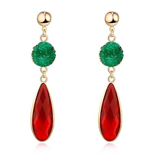 Ohrringe für Damen Runder Wassertropfen Goldeleganter Kristalltropfen baumeln für Frauen Schmuck Harz Lange Ohrringe A