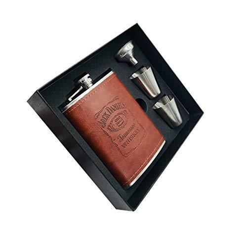 YGLONG Fiaschetta 8 Once di Whisky Vodka Boccale in Acciaio Inox Alcool Jack liquore Boccetta Cuoio warpping Gift Box Set Fiaschetta Tascabile (Color : Set)