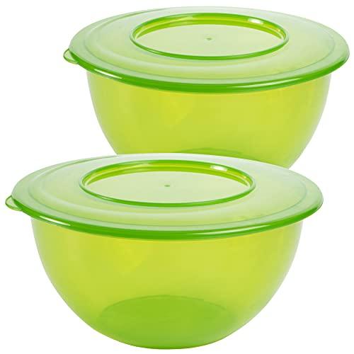 Centi Schüssel 2 Stück Salatschüssel mit Deckel 5 Liter Vorratsdose Aufbewahrung Made in Europe (Grün)