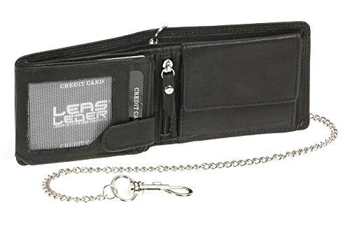 LEAS Mini-Bikerbörse mit Riegel im Querformat mit Chrom-Kette Trucker Echt-Leder, schwarz Chain-Series