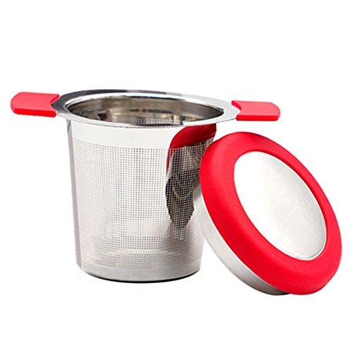 Evilandat Edelstahl Teesieb mit Silkon Griffen und Deckel Teefilter Lebensmittelqualität Tee-Intervall Geeignet für Filter lose Tee und roher Kaffee