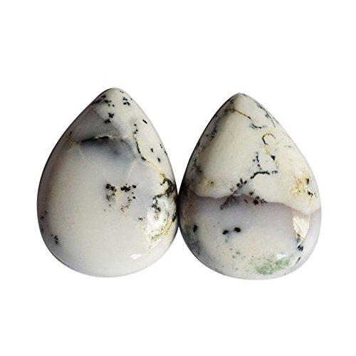 Par de cabujón de ágata dendrita genuino, forma de pera, piedra para pendientes, proveedores de dendritas, AG-8656