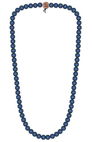 WOOD FELLAS Unisex Deluxe Holz-Perlenkette Blue 6mm