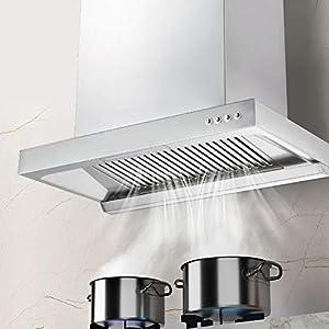 Hotte de cuisine, en alliage d'aluminium - Hotte aspirante murale du flux d'air - 840 m³/h - Volume d'air de vidange - 160 mm - Sortie d'air - 34 x 60 x 38 cm (EU 220 V)