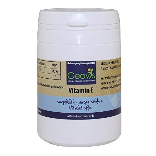 Geovis - Vitamin E Komplex - 90 Tabletten mit je 36mg / 54ie Tocopherol und 1mg Tocotrienol Pulver - Antioxidans - Zellschutz vor oxidativem Stress - VEGAN - Nahrungsergänzung