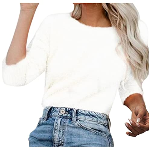 Briskorry Elegante jersey de lana de cuello redondo para mujer, monocolor, jersey envolvente, cómodo para el tiempo libre, corte ajustado, elástico, suéter de manga larga, Blanco-3, L