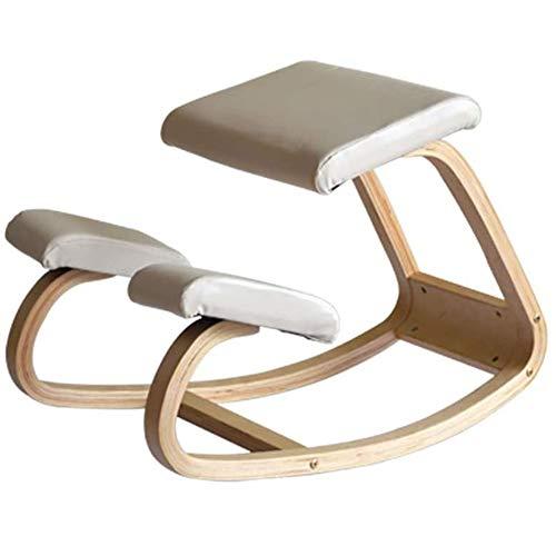 Jakroo Ergonomisch für Kniender Stuhl, Büromöbel Ergonomisch für Zuhause, Hölzerner Schaukelstuhl, Computerhaltung,Weiß