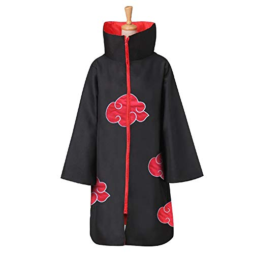 lunanana Naruto Hoodie, Ninja Robe Akatsuki Mantel Halloween Cosplay Kostüm Uniform(S Black-1)