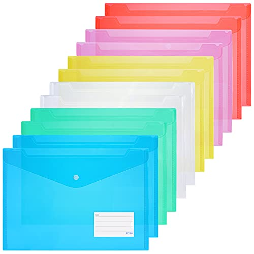 ZCZN ファイルケース ボタン式 クリアファイルバッグ A4 封筒型ファイル a4 透明カラー 6色 12枚セット 横型 タグポケット付き