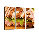 Reuben Sandwich on Pumpernickel and rye Bread Reuben Sandwich Stock Print On Canvas Wall Artwork...