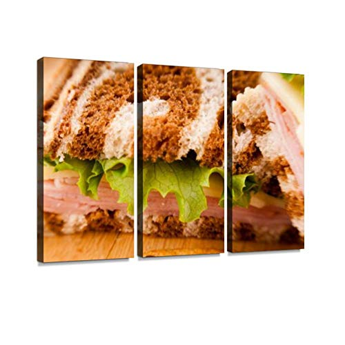 Reuben Sandwich on Pumpernickel and rye Bread Reuben Sandwich Stock Print On Canvas Wall Artwork Modern Photography Home Decor Unique Pattern Stretched and Framed 3 Piece