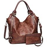 Women Tote Bag Handbags PU Leather Fashion Hobo Shoulder Bags with Adjustable Shoulder Strap, M, Brown