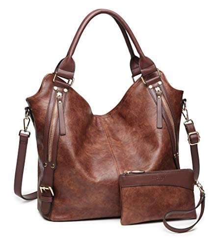 Women Tote Bag Handbags PU Leather Fashion Hobo Shoulder Bags with Adjustable Shoulder Strap, M, Brown