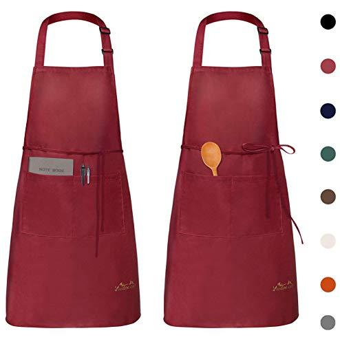 Viedouce 2 Pezzi Grembiule da Cucina Chef,Grembiule da Ristorante BBQ Bar Chef Cucina,Regolabile Grembiuli con Tasche Chef di Cucina,Impermeabile,Gembiule Cucina Uomo Donna (Rosso)