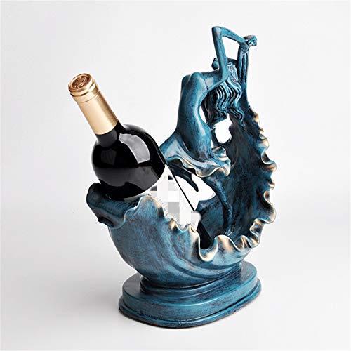 QuRRong Estantería de Vino Hermosa Estante de Vino Mesa de Comedor Decoración Danza Europea Decoración del Restaurante para Barra de Cocina Casera (Color : Azul, Size : 26x13x33cm)