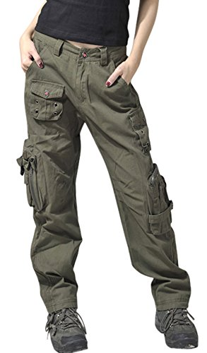 chouyatou Women's Active Loose Fit Military Multi-Pockets Wild Cargo Pants (Large, Army)