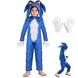 Lucky baby Niñas Niños DisfrazSonic Hedgehog Jumpsuit + Tocado + Guantes Traje de Lujo (Azul, 125-140cm / 7-8 años)