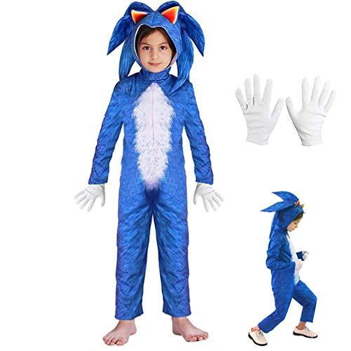 Luckybaby Kinder Mädchen Jungen KostümSonic Hedgehog Jumpsuit + Kopfbedeckung + Handschuhe Deluxe Outfit (Blau, 125-140cm / 7-8 Jahre)