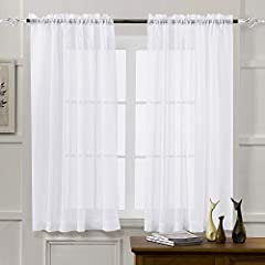 "☀HIGH-GRADE MATERIAL. Luxurious 100% polyester voile fabric. We are known for its durability & quality control. ☀SIZES TO FIT EVERY NEED. Sheer Window Curtain Panels measure 52"" wide and are available in lengths of 45"",63"", 84"", 95"". ☀THE RIGHT BALAN..."