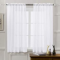 commercial Transparent curtain MYSTIC-HOME, white, 63 inches long, boiled with living pocket, … sheer curtains