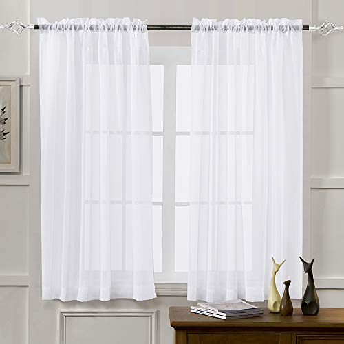 MYSTIC-HOME Sheer Curtains White 45 Inch Length, Rod Pocket Voile Drapes for Living Room, Bedroom, Window Treatments Semi Crinkle Curtain Panels for Yard, Patio, Villa, Parlor, Set of 2, 52
