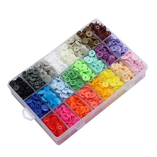 Gesh 408 juegos de botones a presión de plástico, broches T5 sin coser con estuche organizador de almacenamiento para baberos, pañales, manualidades