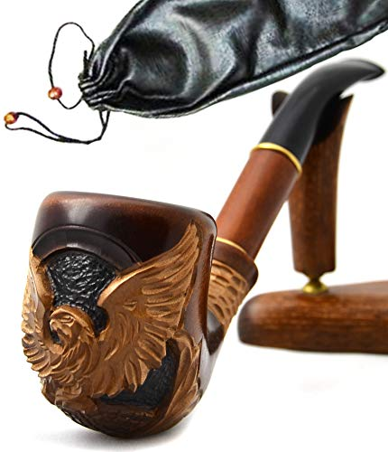 """Pear Wood Hand Carved Tobacco Smoking Pipe""""American Eagle IV"""" Pouch"""
