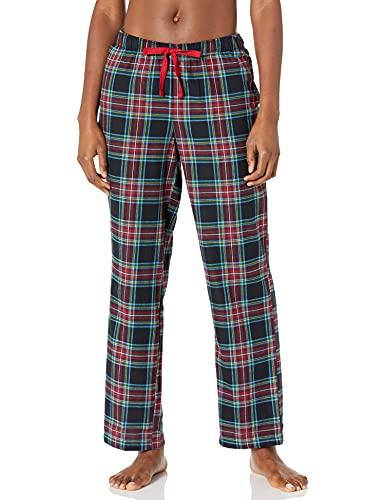 Amazon Essentials Women's Lightweight Flannel Pajama Pant, Black Holiday Plaid, Large