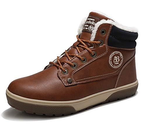 ARRIGO BELLO Hombre Botas Invierno Hombre Zapatos para El Frio y Nieve Antideslizante Botines Cálido Botas de Pelo Cordones Comodos Casual Senderismo (Marrón Blanco, Numeric_44)