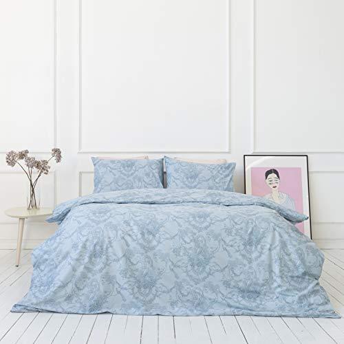 savastextile Baumwoll Bettwäsche 135x200 Blau cm 2 Teilig - 100 Baumwolle Bettwäsche - Toile de Jouy Bettwäsche Pflanzen – Allergie Bettbezug Gesetzt – Weiche Bettwäsche Einzelbett mit 1 Kissenbezug