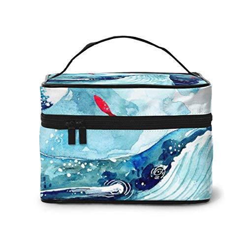 Big Blue Fish Borse in plastica Custodia cosmetica per il viaggio Borse per trucco Organizer Borsa portatile con manico in grande capacità multifunzione