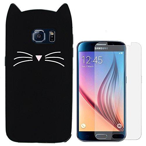 Hcheg Hülle für Samsung Galaxy S6 - 3D Silikon Backcover Case Handy Schutzhülle - Cover klar Katze Design Schwarz Weiß + 1X Screen Protector