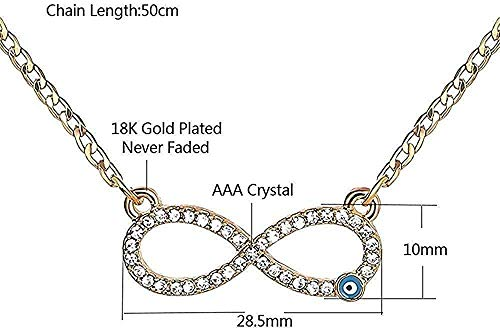 ZJJLWL Co.,ltd Collar 1Pc Gold Blue 8 Endless Fatima Palm Collar para Mujeres Hombres Joyería Collar de Cristal
