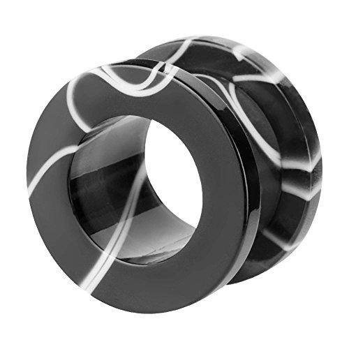 Taffstyle Túnel dilatador para la oreja, de plástico, rosca, tribal, cierre de rosca, color blanco y negro, 6 mm
