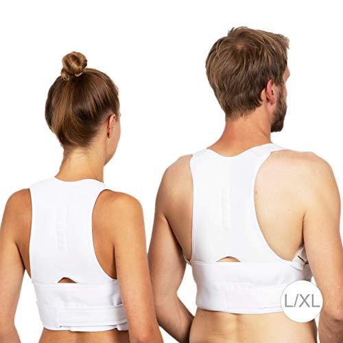 Relaxdays 10024359_878 Correcteur de Posture Dos Homme et Femme corriger Maintien Colonne vertébrale Ceinture Taille S/M, Blanc, Caoutchouc chloroprène, 0,2 x 120 x 42 cm