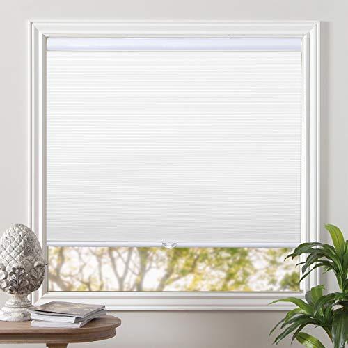Grandekor Blackout Shades Cordless Blinds Cellular Fabric Blinds Honeycomb Door Window Shades 24x64, White-White