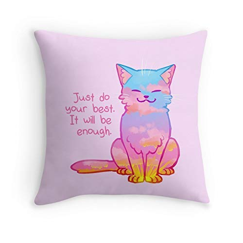 HOJJP pillowcases Your Best Is Enough Sunset Cat for Sofa Couch Living Room Bed Decorative (Square 26x26)