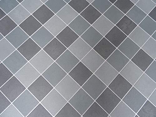 PVC Bodenbelag in diagonalem Fliesen-Design (5,75€/m²), Zuschnitt (4m breit, 3m lang)