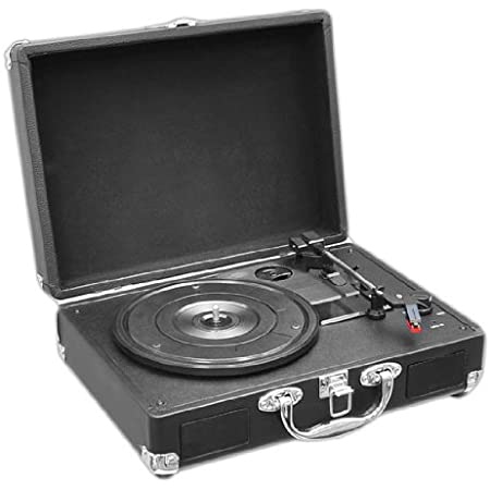 Upgraded Pyle Vintage Record Player - Classic Vinyl Player, Turntable, Rechargeable Batteries, MP3 Vinyl, Music Editing Software Included, USB-to-PC Connection, 3 Speed (Black) - PVTT2UBK