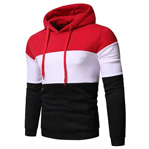 Hoodie Sweatshirt Top T-Shirt Outwear Bluse Männer Herbst Langarm Patchwork Hooded (M,5rot)