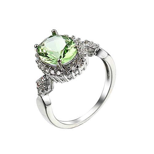 Beydodo Anillos Mujer Chapado en Oro Blanco Anillos Compromiso Plata Mujer Baratos Verde Oval con Cristal Circonita Verde Talla 17