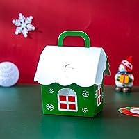 メリークリスマスキャンディーボックスバッグクリスマスサンタスノーマンギフトボックスペーパーボックスギフトバッグ用品8x8.5x10cmグリーン