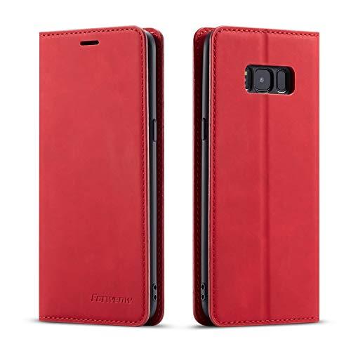 EYZUTAK Hülle für Samsung Galaxy S8, Magnetverschluss Premium PU Leder Flip Hülle mit Kartenfächern Brieftasche Standfuntion stoßfeste Silikonhülle Retro Ledertasche - Rot