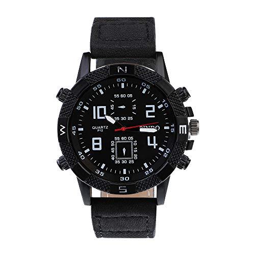 Souarts Herren Armbanduhr Männer Einfach Sport Analoge Quarzuhr PU Leder Armband Uhren mit Kleine Deko Zifferblatt